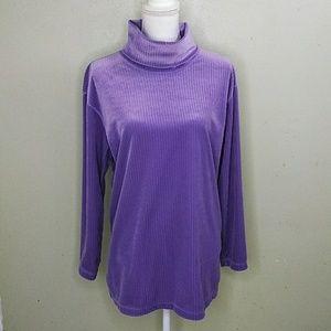 SJB Sport Lavender Ribbed Velour Tunic Top L